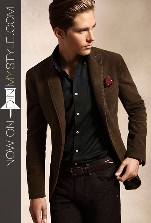 Classic Mens Fashion Brown Blazer with Jeans Look